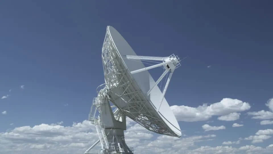 satellite dish consists of a spring of electromagnetic waves